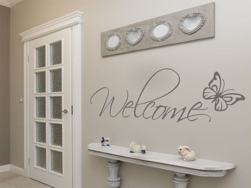 Welcome Wall Art With Butterfly Wall Art Sticker Decal